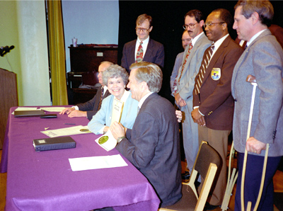 Governor Finney and Secretary Babbitt signing the State of Kansas Proclamation by the Governor