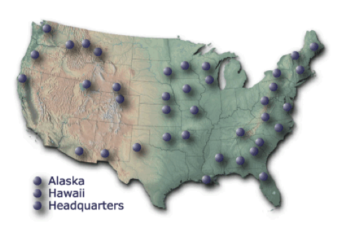 Map-link to the Cooperative Research Units Program Headquarters website