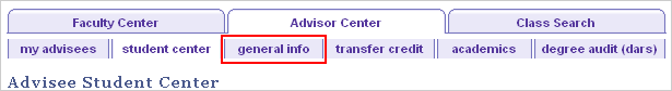 Advisor Center tabs with the General Info tab highlighted