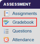 A picture of the Assessment Center with Gradebook Highlighted