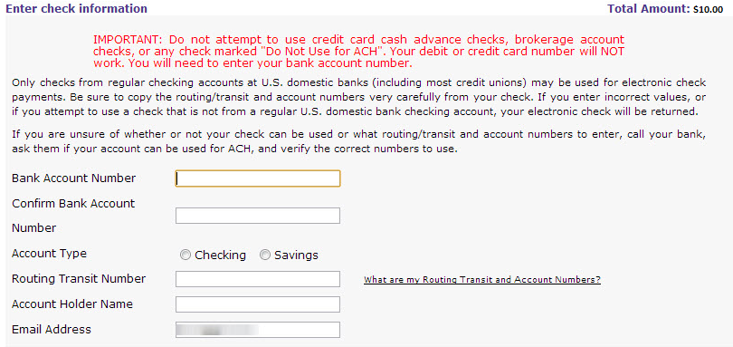 Enter Electronic Check Payment Information