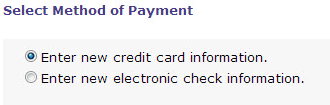 Select Method of Payment