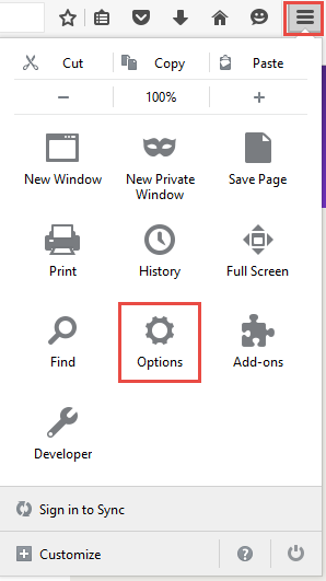 Firefox select preferences