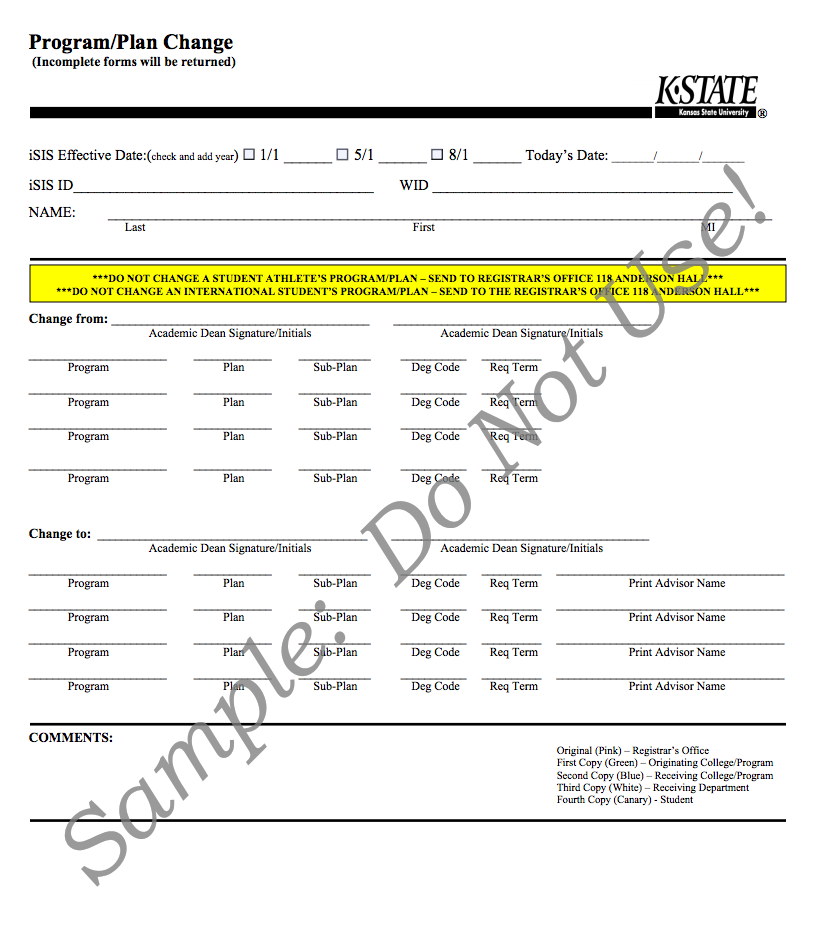 Sample student program plan change form