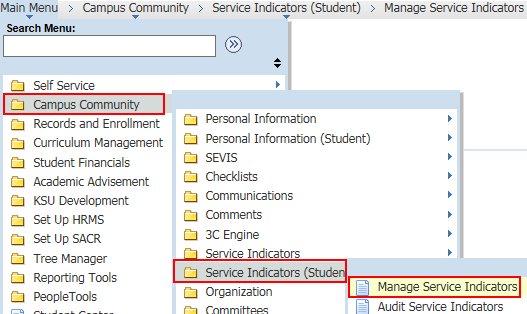 Navigate to Manage Service Indicators