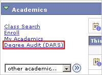 Picture of the Academics list of actions with the Degree Audit (DARS) link highlighted.