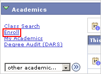 Picture of the Academics list of actions with the Enroll link highlighted.