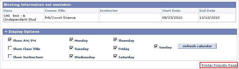 Image of Weekly Calendar View Display Options