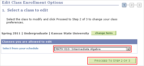 Image of the Edit Class Enrollment Options page
