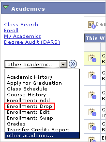 Picture of the Other Acaswmics drop list with Enrollment: Drop highlighted.