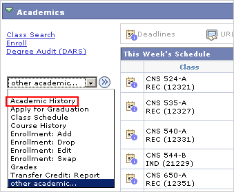 Picture of the Other Academic... drop list with Academic History marked.