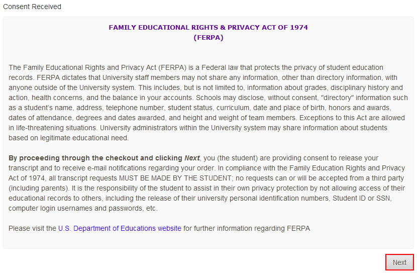 Review your FERPA rights and click Next