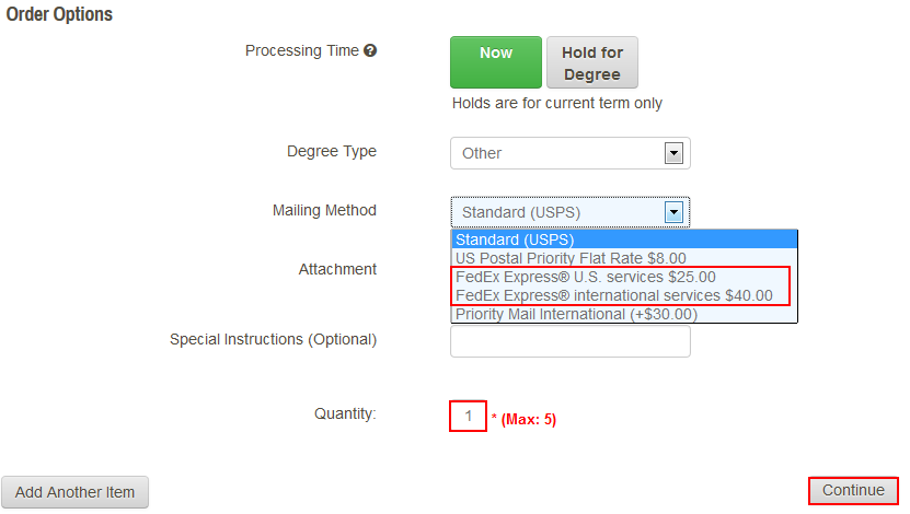 Select the Mailing Method and Quantity