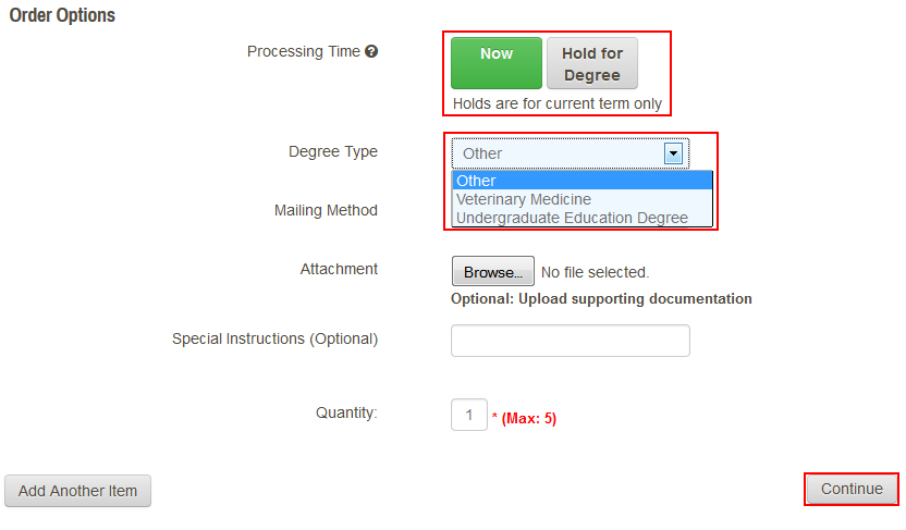 Select the Processing Time
