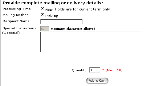 image of the order form for electronic delivery of transcripts