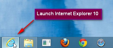 Launch Internet Explorer 10