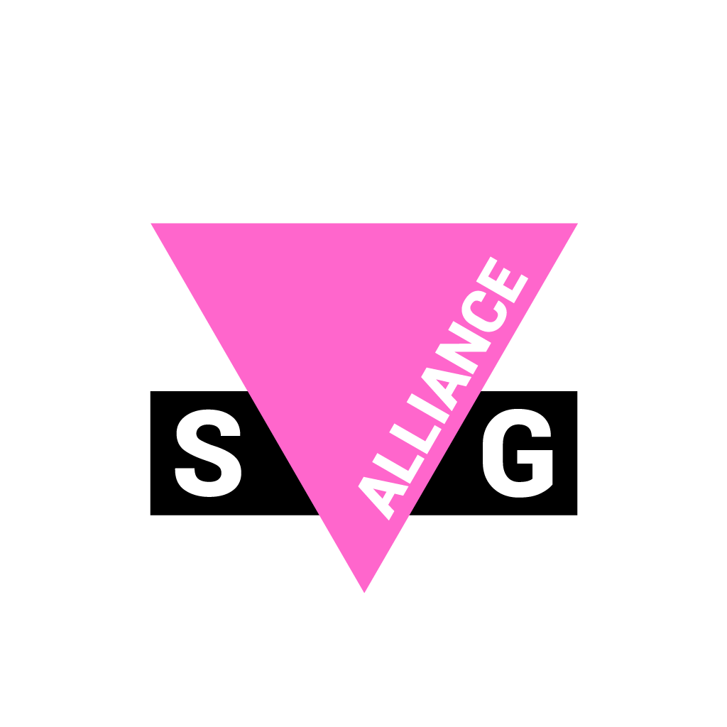 Inverted Pink Triangle with black bar across the bottom