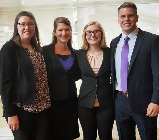 members of the kansas state human resources case study team from left are maggie mosley mariah strahm kylie hardman and jake burnett