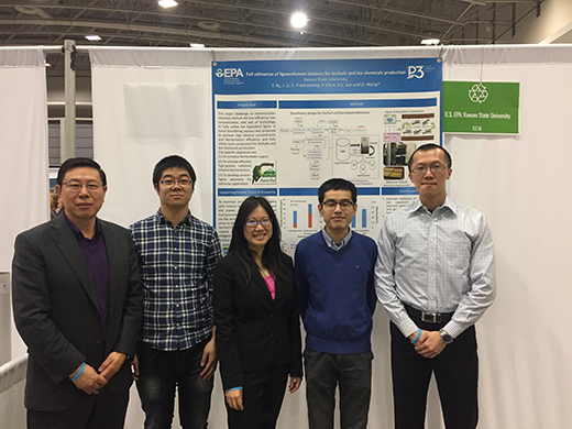 Donghai Wang, professor of biological and agricultural engineering, with doctoral students Jun Li, Sarocha Pradyawong, Yizhou Chen and Youjie Xu.
