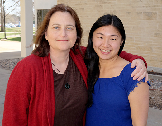 A. Sally Davis, assistant professor of experimental pathology, and Mya Masterson, senior in medical laboratory science and life science.