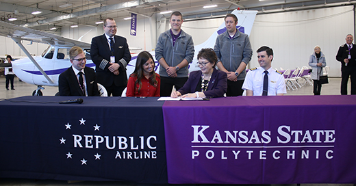 The Kansas State University Polytechnic Campus signs an agreement with Republic Airline to become a university partner in its Aviation Career Pipeline Interview Program.