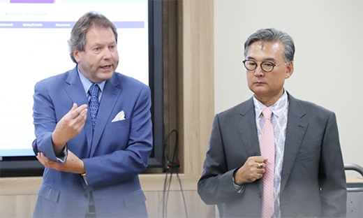 Jürgen Richt, director of the Center of Excellence for Emerging and Zoonotic Animal Diseases at Kansas State University, joins Young Lyoo, dean of veterinary medicine at Konkuk University in Seoul, South Korea.