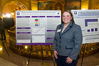 Kelly Foster, master's student in biomedical sciences, presents her award-winning poster at the Capitol Graduate Research Summit in Topeka.