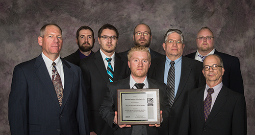 The project's researchers, from left, front row: Russell Taylor, Ryan Fronk and Douglas McGregor; middle row: Logan Whitmore and Tim Sobering; and back row: Taylor Ochs, Steven Bellinger and Luke Henson