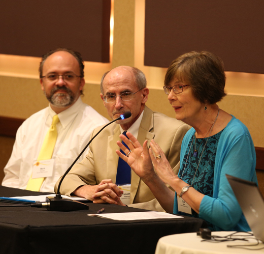 From left: Mark Porcaro, Wichita State University; Timothy Peterson, Washburn University; and Sue Maes, Kansas State University.