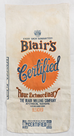 cotton flour sack with Blair's label