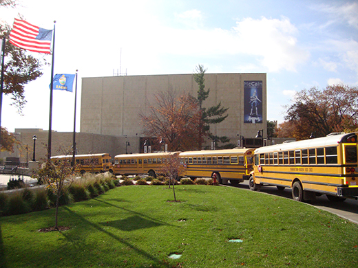 Schoolbuses in front of McCain Auditorium