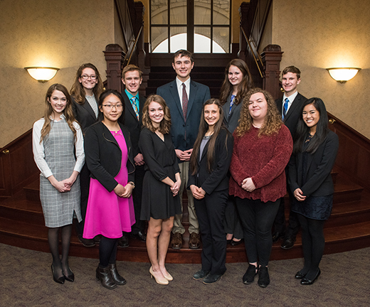 Finalists for Kansas State University's Presidential Scholarship, front row, from left: Anna Weigel, Luann Jung, Ella Bahr, Sierra Staatz, Madison Burch and Athena Tran; back row, from left: Danielle Cross, Colin Williams, Taylr Bahr, Cheyanne Brunner and Jarow Myers; not pictured is Tristan Korff.