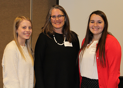 From left, Juliannna Price, senior; Sheila Hayter, ASHRAE president; and Syndey Bellows, senior.