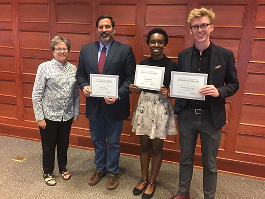 At left, Dean of K-State Libraries Lori Goetsch with three honorees at the Kirmser Undergraduate Research Award ceremony: Scott Heise, Ayana Belk and Zach St. Clair.