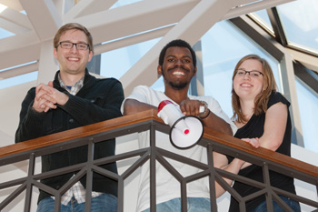 The creators of Loudspeaker, from left to right: Brock Ingmire, Chandler Johnson, and Jenna Surprenant