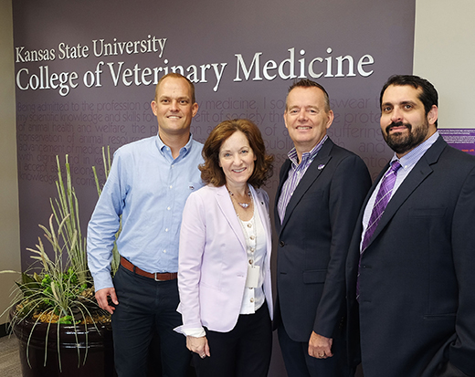 Bonnie Rush, second from left, interim dean of the College of Veterinary Medicine at Kansas State University, meets with, from left, Jesper Nordengaard, Jolle Kirpensteijn and Omar Faria from Hill's Pet Nutrition
