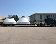 two halves of a mock Orion spacecraft