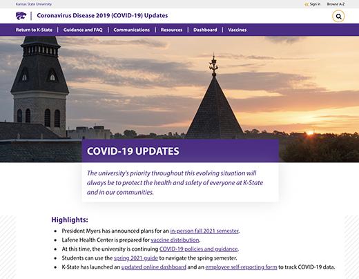 COVID-19 home page