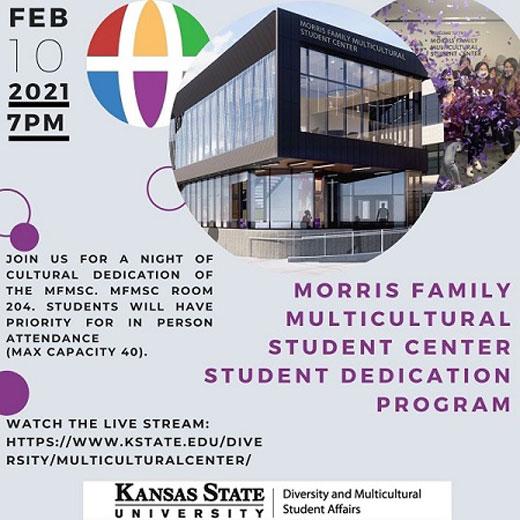 Morris Family Multicultural Student Center student dedication flyer