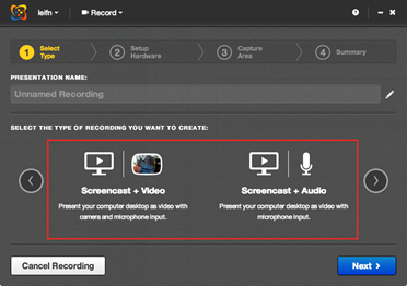 Select the type of recording
