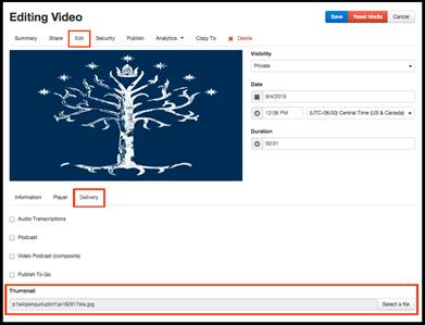 changing the thumbnail help training mediasite kansas state