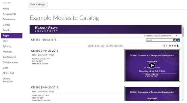 Canvas page containing Mediasite catalog