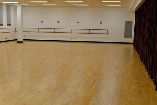 Nichols Hall 026 dance studio