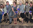 President Schulz and other supporters break ground for the Justin Hall expansion.
