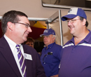 President Schulz chats with Wildcat fans at a pre-game event at Arrowhead Stadium in September 2010.