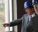 President Schulz tours K-State Olathe while under construction.