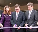 President Kirk Schulz and dignitaries cut the ribbon at the grand opening of the university's third campus, K-State Olathe.