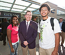 President Schulz with students on campus.
