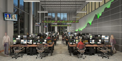 Rendering of a trading room in the new business adminstration building