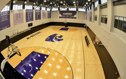 A practice court in the new basketball training facility